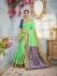 Green and blue color banarasi silk wedding saree