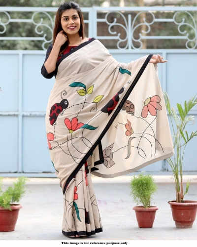 Bollywood Inspired White satin digital print saree