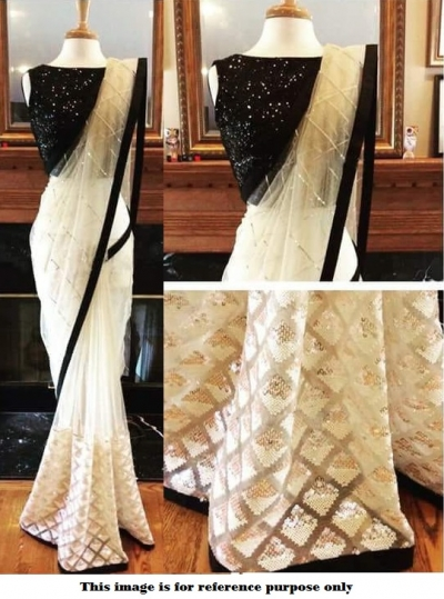 Bollywood Inspired White and Black net Sequins saree