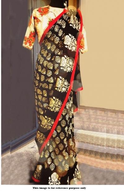 Bollywood Inspired Black color foil print paper silk saree
