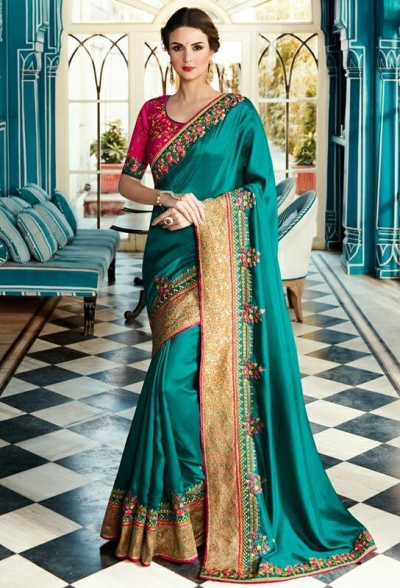 Party wear Designer Sarees Teal Green 7801