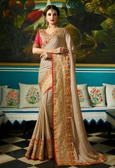 Party wear Designer Sarees Beige Colour 7808