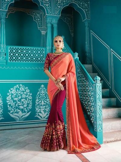 Peach purple color shaded crepe silk wedding saree 7902