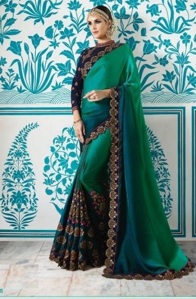 Teal green blue crepe silk wedding saree 7905