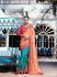 Peach blue pink crepe silk wedding saree 7906