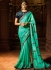 Turquoise fancy fabric embroidered work designer saree 74106