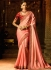 Peach red border work classic saree 74107