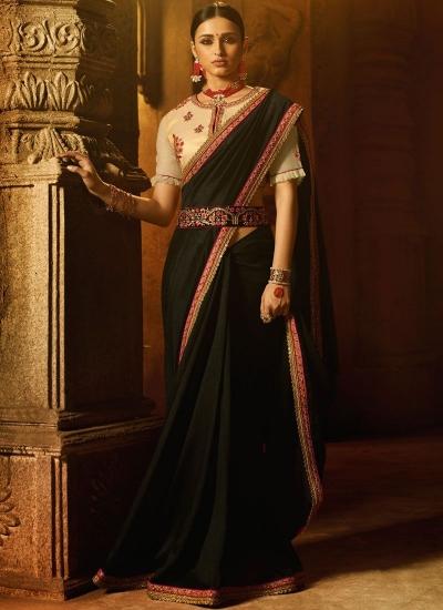 Black art silk patch border work designer traditional saree 74108