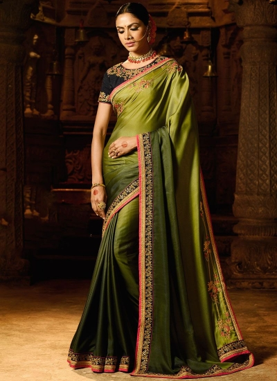 Fresh green fancy fabric shaded saree 74111
