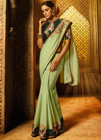 Pista green dark green art silk wedding saree 74114