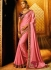 Pink satin silk classic designer saree 74116