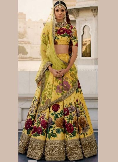Bollywood Sabyasachi Inspired Yellow art silk bridal lehenga
