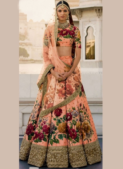 Bollywood Sabyasachi Inspired Peach art silk bridal lehenga