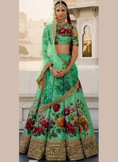 Bollywood Sabyasachi Inspired Green art silk bridal lehenga