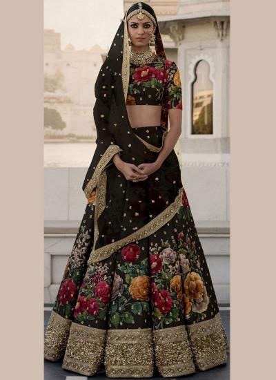 Bollywood Sabyasachi Inspired Black art silk bridal lehenga