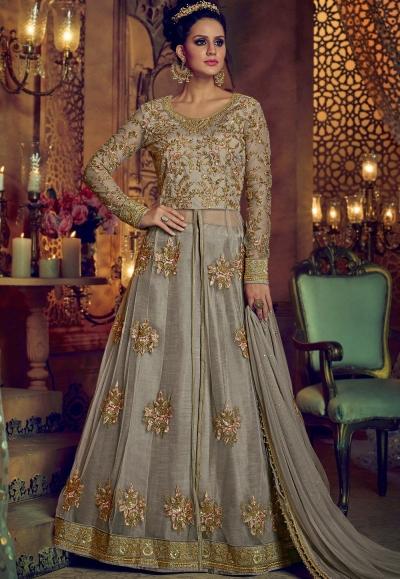 3dabdc9779 Buy Dusty grey net and banglori silk party wear Lehenga kameez in ...