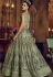 Olive green net and banglori silk party wear Lehenga kameez