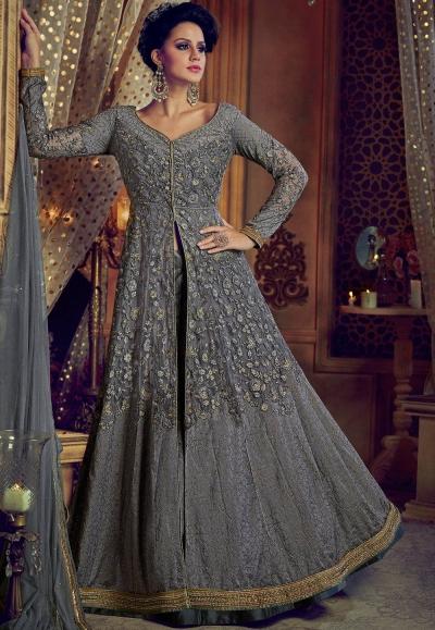 2826a70ecd Buy Grey color net and banglori silk party wear Lehenga kameezin UK ...