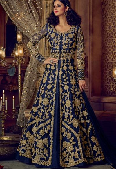 Navy blue color banglori silk party wear Lehenga kameez