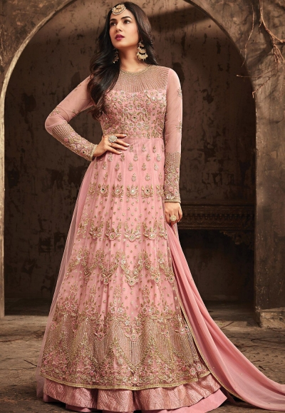 Sonal Chauhan Pink Net party wear anarkali kameez