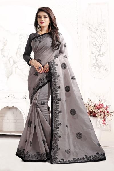 Indian Wedding organza Art silk Grey Colour Saree 1562