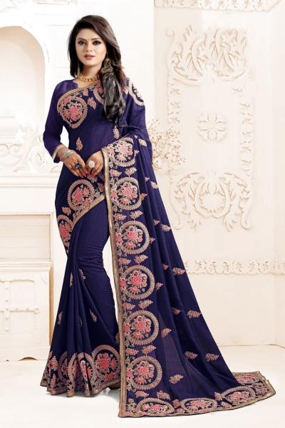 Indian Wedding Art silk Blue Colour Saree 1563