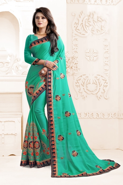 Indian Wedding Georgette Green Colour Saree 1564