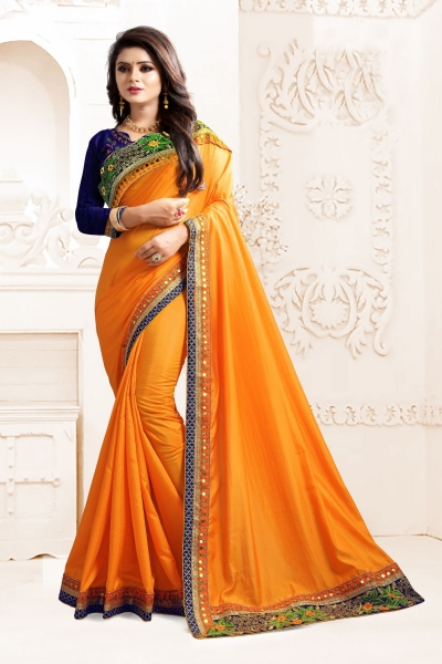 Indian Wedding Art silk Yellow Colour Saree 1565