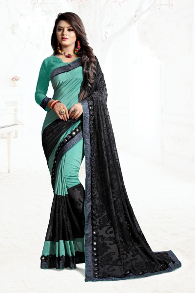 Indian Wedding Art silk Net Blue black Colour Saree 1567