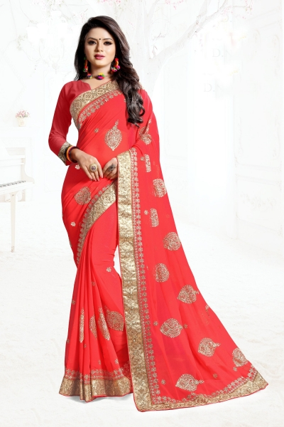 Indian Wedding Georgette Red Colour Saree 1568