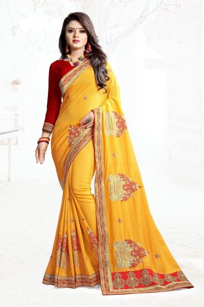 Indian Wedding Art Silk Yellow colour Saree 1551