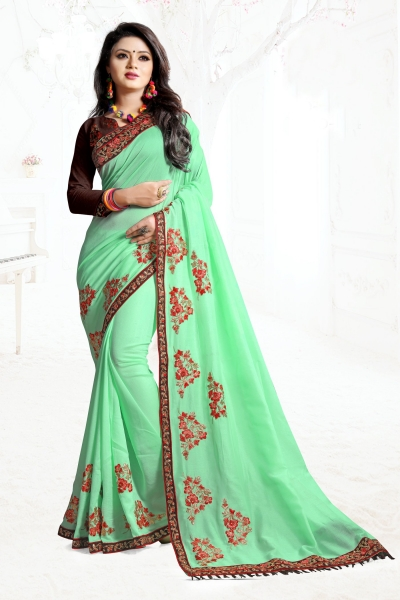 Indian Wedding Art Silk Green Colour Saree 1555