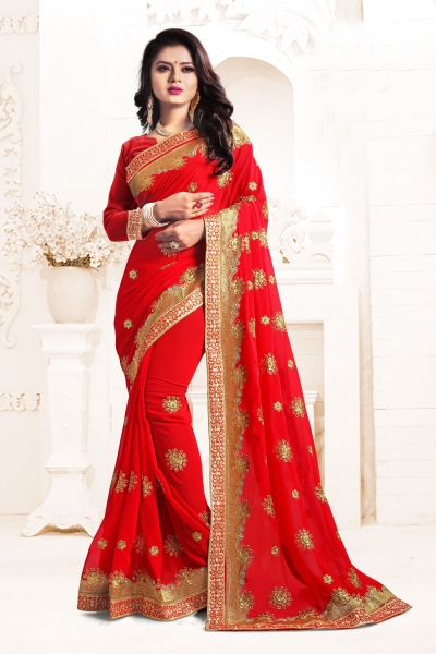 Indian Wedding Georgette Red Colour Saree 1556