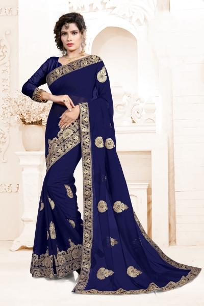 Indian Wedding Georgette Blue Colour Saree 1557