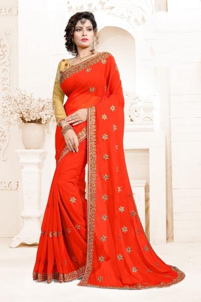 Indian Wedding Art Silk Red Colour Saree 1559