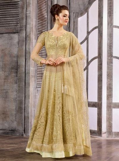 Off White color net wedding wear Ghagra Choli