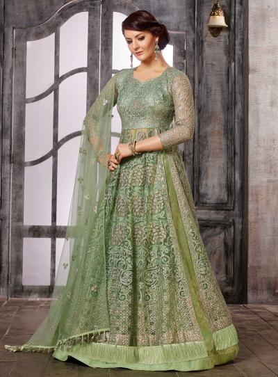 Light Green color net wedding wear Ghagra Choli