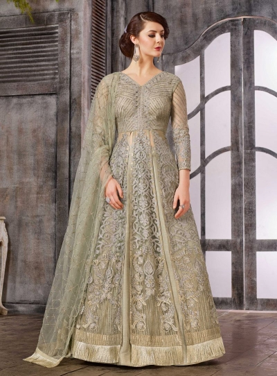 b022e402d1 Buy Grey color net wedding wear Ghagra Choli in UK, USA and Canada