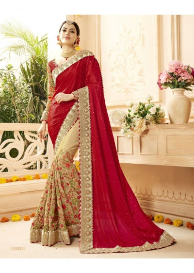 Beige Georgette Art Silk Embroidered Bridal Saree 1112