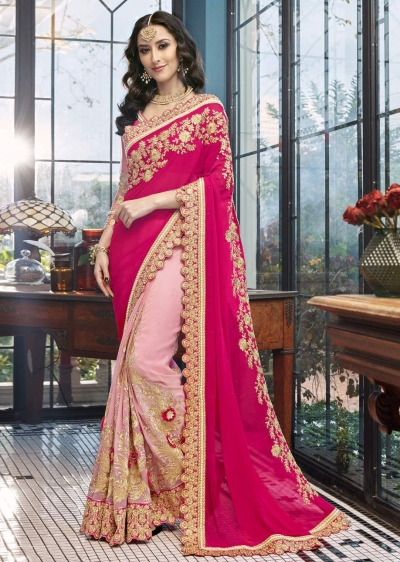 Pink Faux Georgette Embroidered Saree 5001