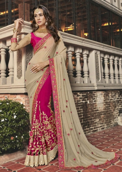 Pink Faux Georgette Embroidered Saree 5006
