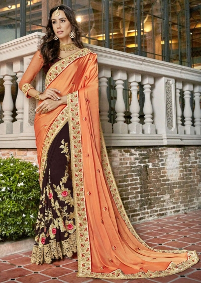 Brown Faux Georgette Embroidered Indian Wedding Saree 5007