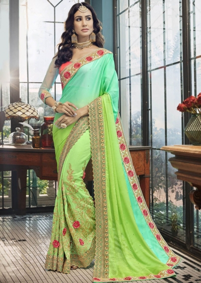 Green Faux Georgette Embroidered Indian Wedding Saree 5008