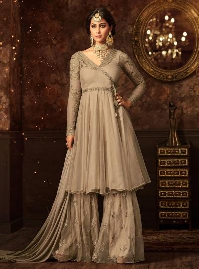 Beige color net wedding wear Sharara Style suit