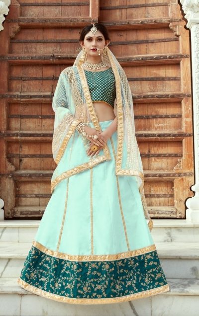 Indian Dress Green Color Bridal Lehenga 1102