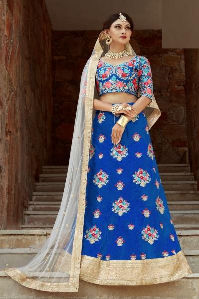 Indian Dress Blue Color Bridal Lehenga 1106