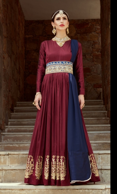 Indian Dress Maroon Color Bridal Lehenga 1107