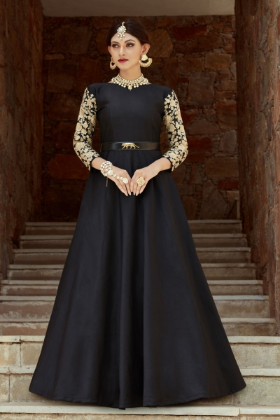 Indian Dress Black Color Indo Western Gown 1108