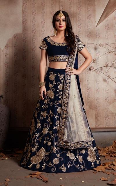 Indian Dress Blue Color Bridal Lehenga 341B