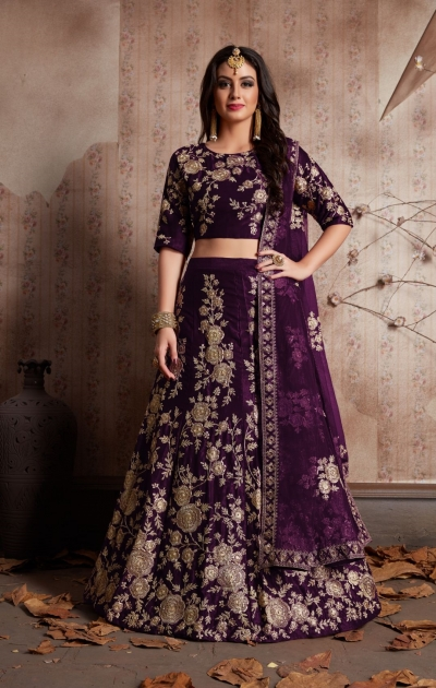 Indian Dress Purple Color Bridal Lehenga 359P